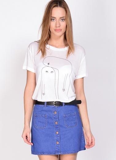 Adpt Adpt Beyaz Kadın T-Shirt Beyaz